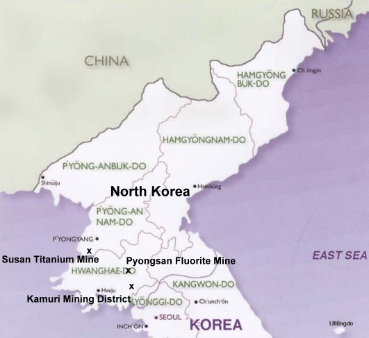 North Korea: Susan Titanium Mine, Kamuri Mining District, Pyongsan Fluorite Mine